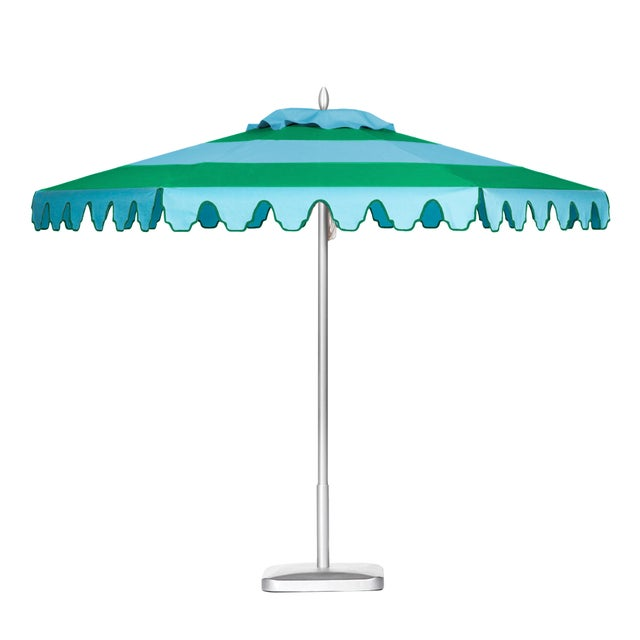 Aruba Daydreams 9' Patio Umbrella, Baby Blue & Bright Green For Sale - Image 4 of 4