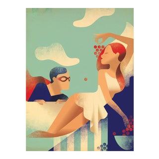 Modern Danish Poster, Superhero and woman For Sale