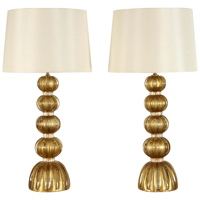 20th Century Italian Murano Glass Lamps-a Pair For Sale - Image 9 of 9