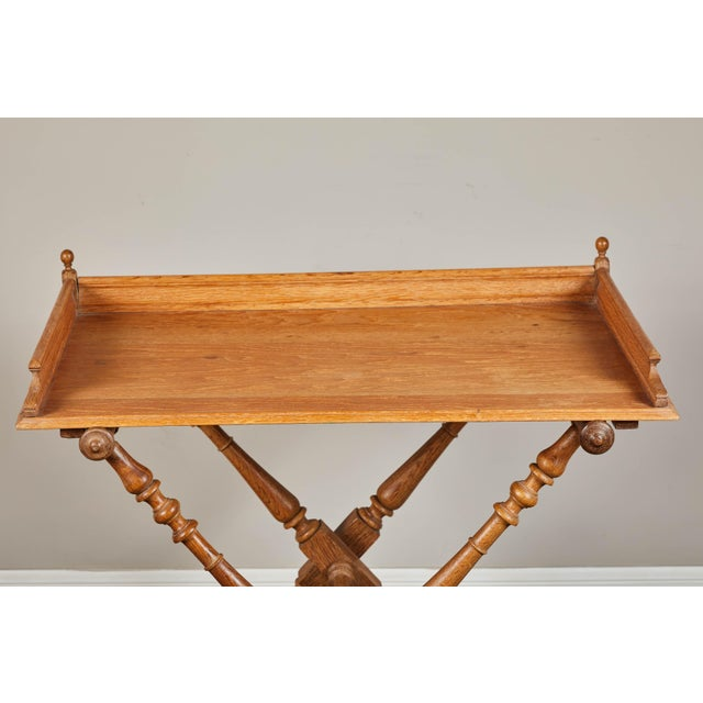 Wood 19th Century Oak Butler's Tray Table For Sale - Image 7 of 9