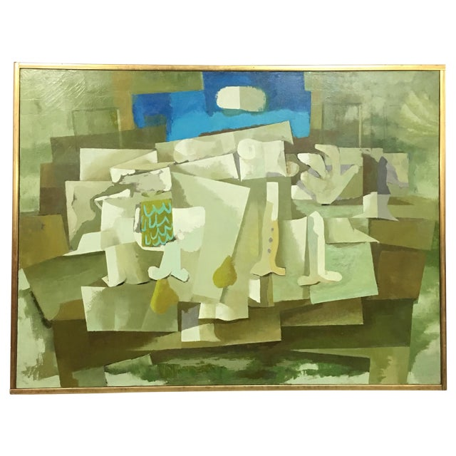 Mid-Century Green & Tan Cubist Oil Painting - Image 1 of 9