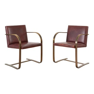 Mies Van Der Rohe for Breuton Bronze Flat Bar Brno Chairs For Sale