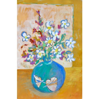 Impressonist Flowers in a Heart Shape Vase For Sale