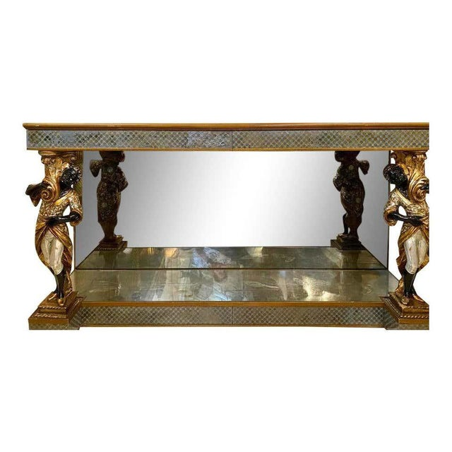 Figurative Hollywood Regency Jansen Figural & Églomisé Console Table, Sofa/Sideboard Table For Sale - Image 3 of 13