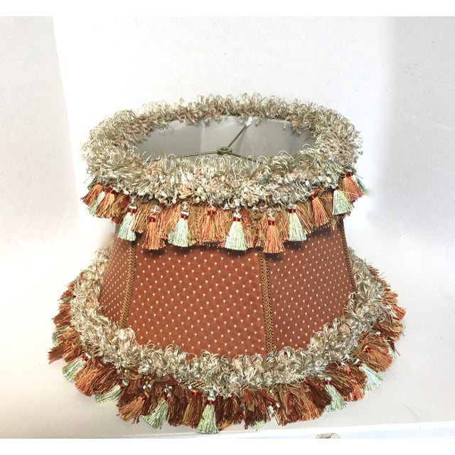 Cottage Custom Coral Silk Lampshade For Sale - Image 3 of 5