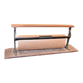 Antique Industrial Cast Iron Paper Roller Dispenser For Sale