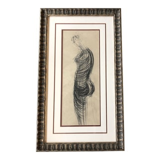 Original Vintage Abstract Female Nude Charcoal Study Drawing Framed For Sale