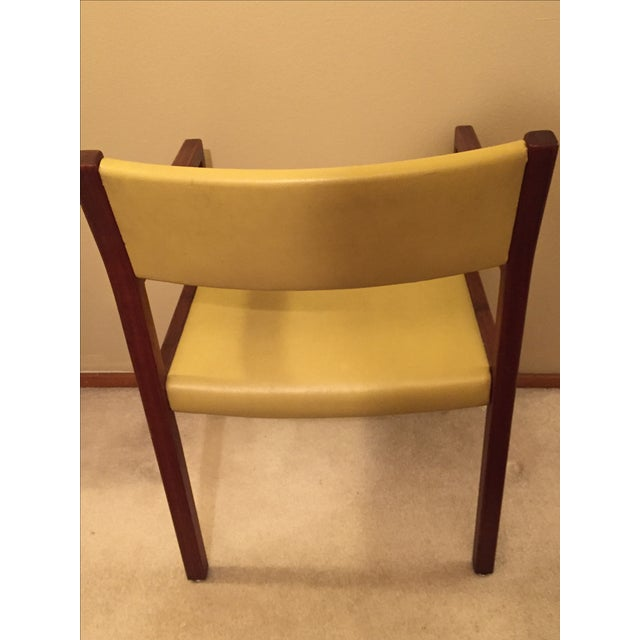Mid-Century Danish Modern Vinyl And Walnut Chair - Image 4 of 5