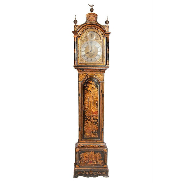George II Lacquered Chinoiserie Tall Case Clock Inscribed Jno. Fladgate, London For Sale - Image 13 of 13