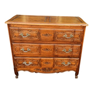 Antique 19c French Louis XV Carved Walnut Commode For Sale
