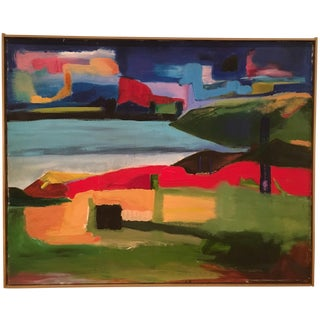 Vintage Mid Century Abstract Landscape Oil Painting 30 X 24 For Sale