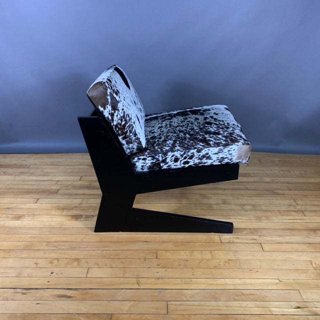 1980s Pair Cowhide & Black Lacquered Lounge Chairs, Germany 1980 For Sale - Image 5 of 10