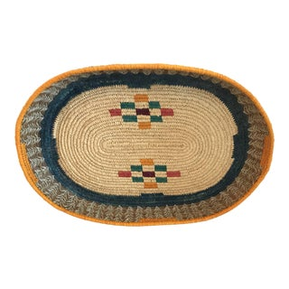 20th Century Boho Chic Colorful Woven Basket For Sale