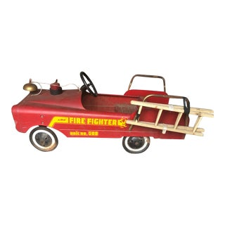 Vintage Fire Engine Toy Pedal Car With Ladders For Sale
