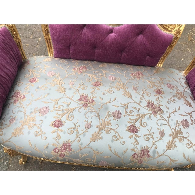 French French Louis XVI Style Purple Tufted Love Seat/Settee For Sale - Image 3 of 7