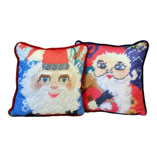 Santa Claus Velvet Holiday Pillows - a Pair, Feather Down, Last Call! For Sale
