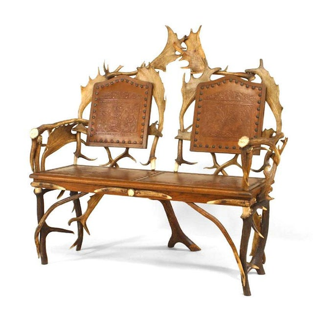 Rustic German Oak and Antler Loveseat For Sale In New York - Image 6 of 6