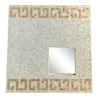 Square Mother of Pearl Covered Cream and Gold Wall Mirror For Sale