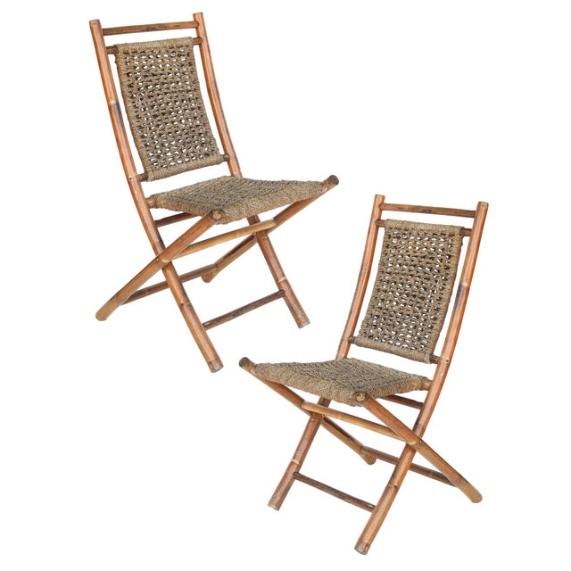 Tan Folding Bamboo Chairs For Sale - Image 8 of 11