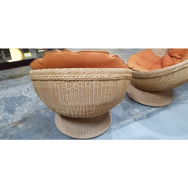 Mid-Century Modern 1970's Mod Rattan Lounge Chairs, a Pair For Sale - Image 3 of 10