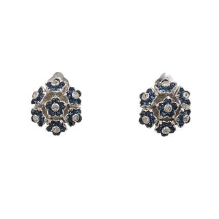 Circa 1950 Signed Pennino Rhodium Plate Faux-Sapphire Flower Earrings For Sale