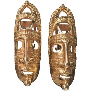 Circa 1980 France Dominique Aurientis Tribal Mask Goldtone Earrings-Pair For Sale