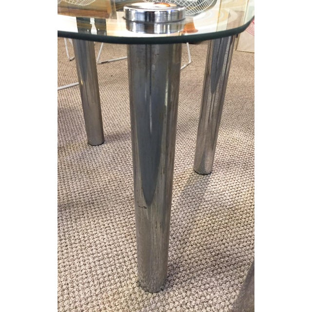 Mid Century Graphic Top Glass &Chrome Side Tables - a Pair - Image 4 of 7