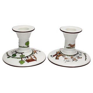 English Hunting Scene Candlesticks For Sale