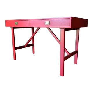 1970s Mid-Century Modern Red Campaign Desk For Sale