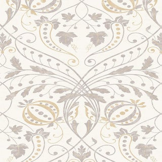 "Lewis & Wood Chateau Gesso Extra Wide 52"" Botanic Style Wallpaper Sample For Sale"