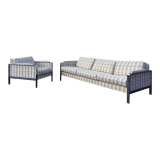 Adrian Pearsall for Craft Associates Flat Bar Chrome Sofa and Chair