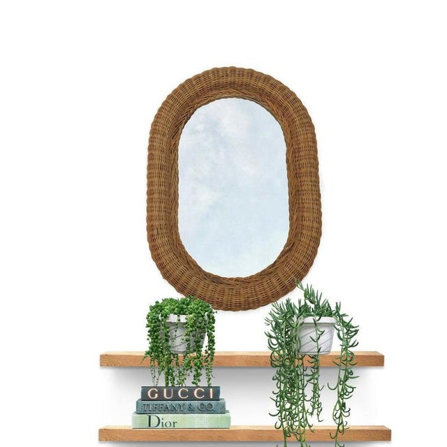 Vintage Wicker Mirror, Oblong Rattan Woven Mirror, 29 inch Dresser Mirror. Boho Wall Hanging Mirror. Works anywhere, from...