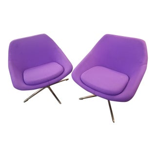Mid Century Modern Overman Style Iris Swivel Pod Chairs by Allermuir - Pair For Sale