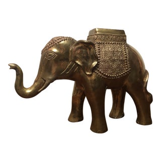Vintage Brass Decorated Indian Elephant Planter Statue For Sale