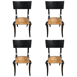 Vintage Mid Century Black Painted Klismos Chairs - Set of 4 For Sale