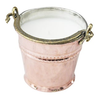 1880 Antique Copper French Pail Heirloom Candle For Sale
