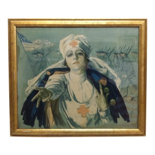 Early 20th Century Antique Harrison Fisher Framed World War 1 Red Cross Nurse Print For Sale