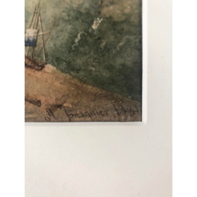 Mid 19th Century 19th Century French Watercolor Landscape Painting of Artists Under a Tree by Pasquier 1834 For Sale - Image 5 of 8