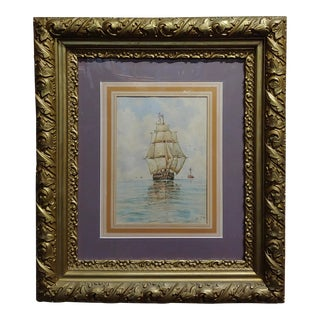 William Stanley Haseltine -Sailboat at Sea - 19th Century Painting For Sale