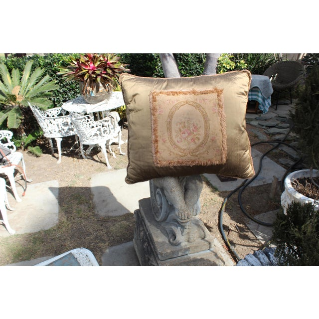 Late 19th Century 19 C. Large French Aubusson Pillow For Sale - Image 5 of 7