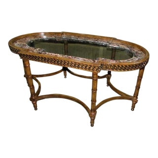Maitland Smith Hand Carved Cocktail Table With Mother of Pearl Inlay For Sale