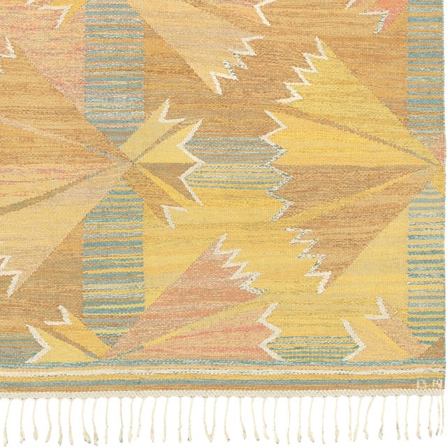 Mid-Century Modern 1940s Swedish Flat Weave Rug by Barbro Nilsson- 5′3″ × 8′4″ For Sale - Image 3 of 6
