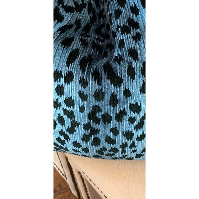 """Leopard Print Chenille in Blue/Black 22"""" Pillows-A Pair For Sale - Image 4 of 5"""