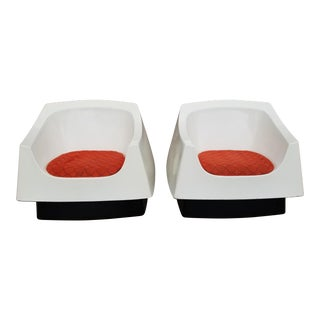 Mid-Century Modern Space Age Molded Fiberglass Lounge Chairs- A Pair For Sale