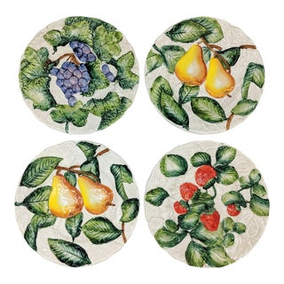 20th Century Italian Trompe l'Oeil Majolica Fruit Plates - Set of 4 For Sale
