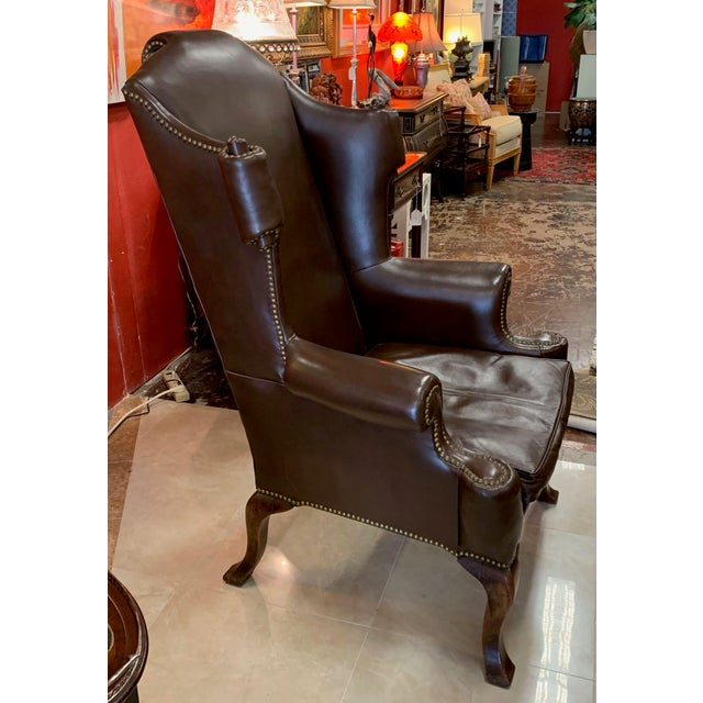 Mid 20th Century Vintage 18th Century Style Scrolled Wing Chair For Sale - Image 5 of 13