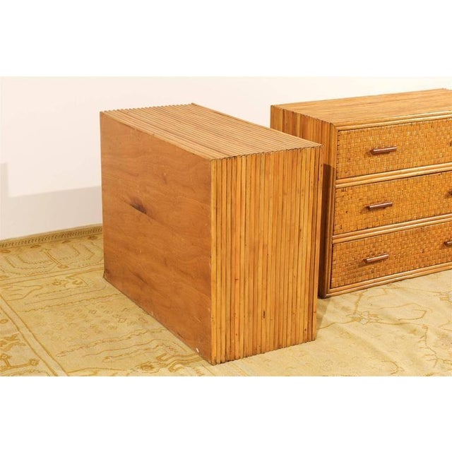 Bamboo Handsome Pair of Restored Vintage Bamboo and Rattan Chests For Sale - Image 7 of 10
