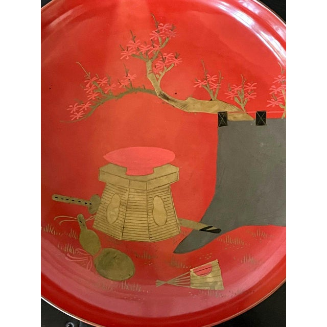 Wood Japanese Maki-e Lacquered Pedestal Dishes - Set of 4 For Sale - Image 7 of 10