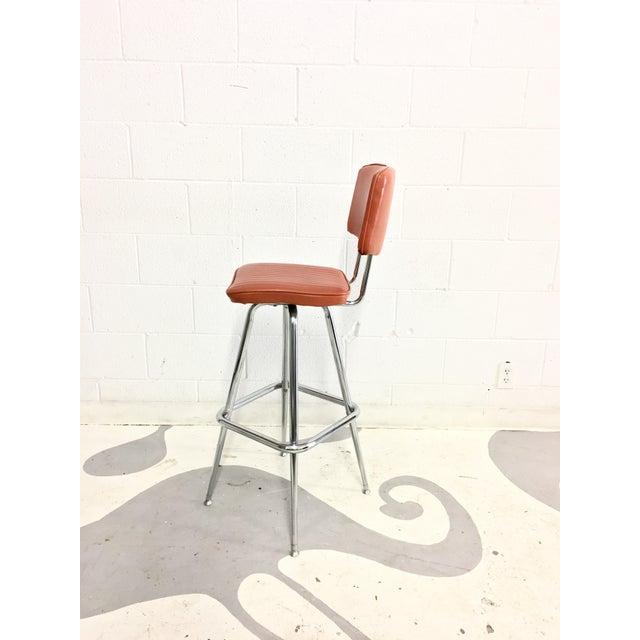 Mid-Century Chrome and Orange Vinyl Barstool - Image 4 of 6