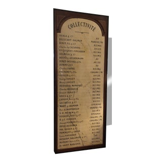 Vintage French Restaurant Sign With List of Champagnes For Sale